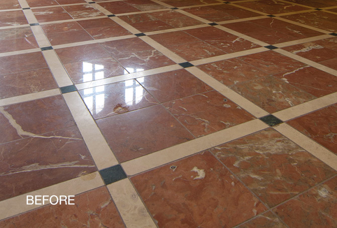 Dull Looking Red Marble Floor