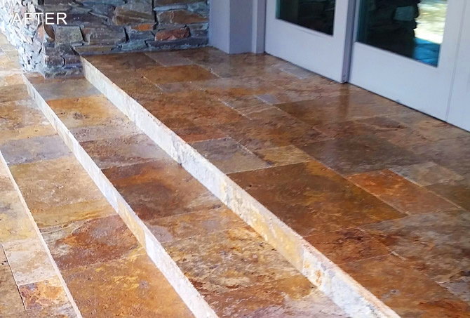 Clean Exterior Travertine