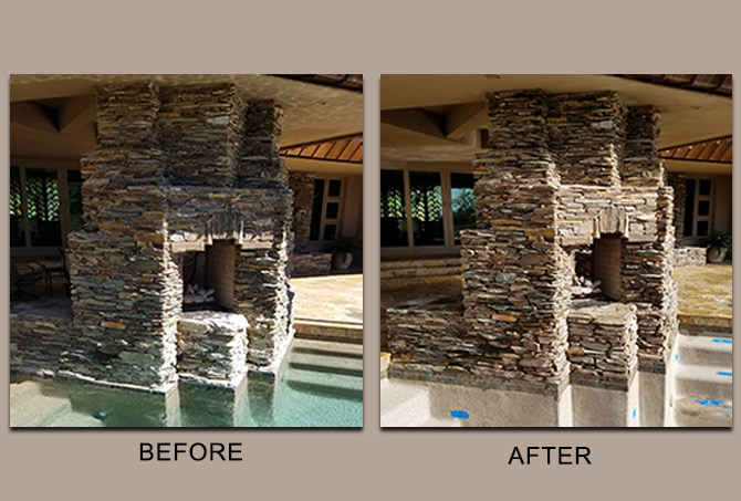 Stacked Stone Before and After