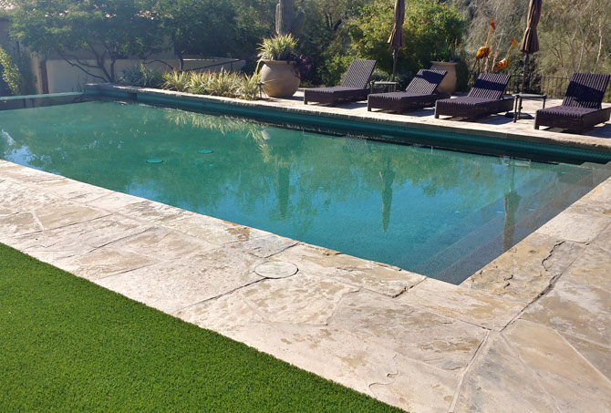 Flagstone Pool Area Before Restoration