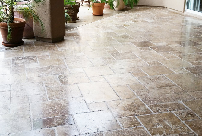 Travertine Exterior After Refinishing