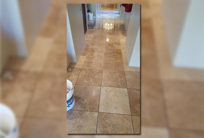 Travertine Hallway Refinished