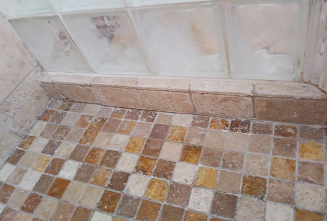 Travertine Shower Pan After Close Up