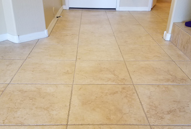 Tile Entrance After Cleaning and Color Sealing