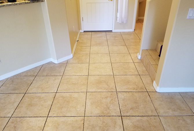 Tile Entrance Before Cleaning and Color Sealing