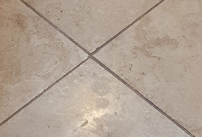 Travertine Dirty Grout Lines